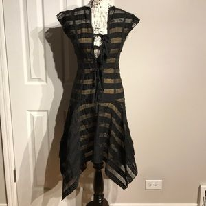 Dresses & Skirts - Striped Sheer Party sleeveless casual Fit Flare XS